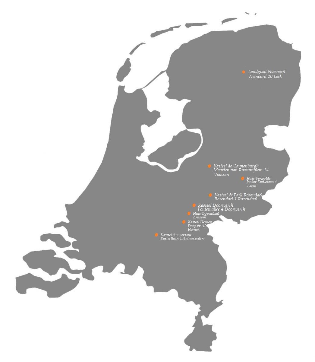 kaart kasteellocaties